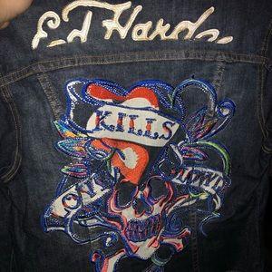 Ed hardy blue jean jacket